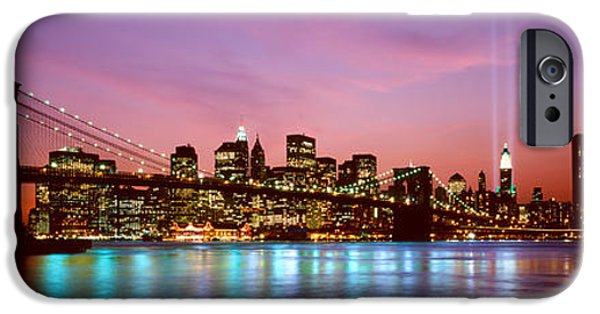 Hudson River iPhone Cases - Skyscrapers Lit Up At Night, World iPhone Case by Panoramic Images