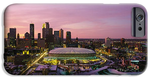 Minnesota iPhone Cases - Skyscrapers Lit Up At Sunset iPhone Case by Panoramic Images