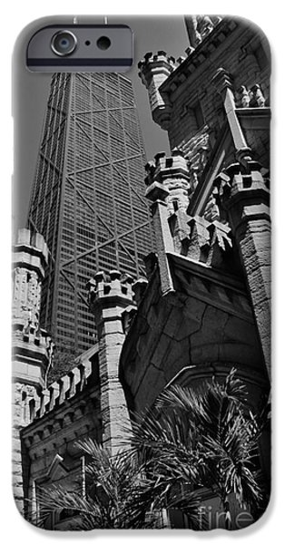 Old Chicago Water Tower iPhone Cases - Skyward iPhone Case by John Groeneveld