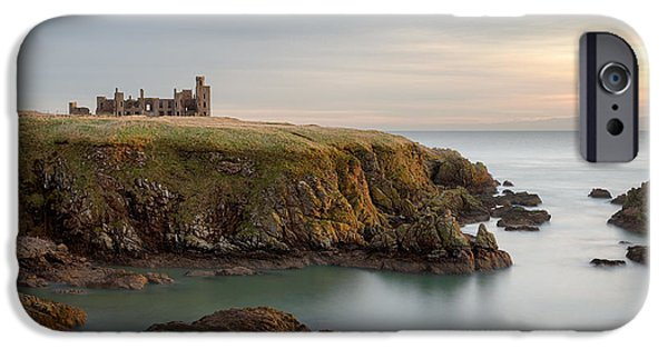 North Sea iPhone Cases - Slains Castle Sunrise iPhone Case by Dave Bowman