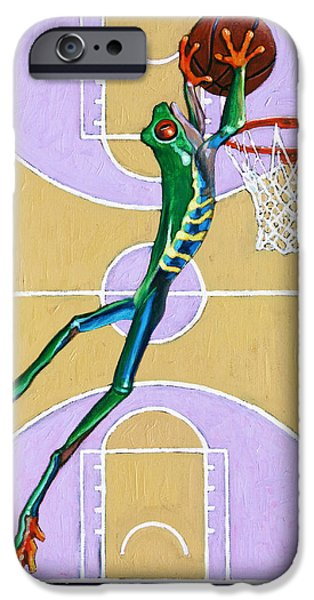 Slam Paintings iPhone Cases - Slam Dunk iPhone Case by John Lautermilch