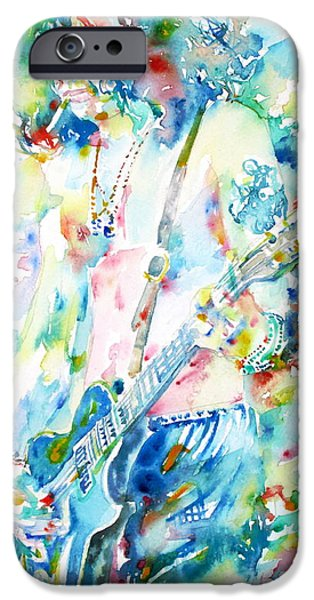 Electric Drawings iPhone Cases - SLASH playing LIVE - watercolor portrait iPhone Case by Fabrizio Cassetta