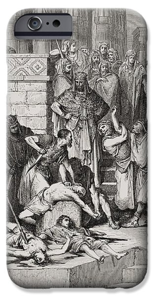Nabuchodonosor iPhone Cases - Slaughter of the Sons of Zedekiah before their Father iPhone Case by Gustave Dore