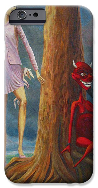 Innocent iPhone Cases - Slaying The Devil Who Eats My Dreams iPhone Case by Mindy Huntress