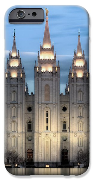 Saint iPhone Cases - SLC Temple Blue iPhone Case by La Rae  Roberts