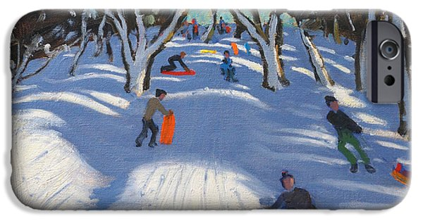 White Christmas iPhone Cases - Sledging at Ladmanlow iPhone Case by Andrew Macara