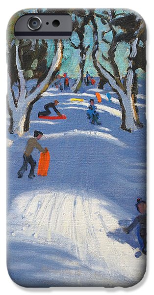 Sledging at Ladmanlow iPhone Case by Andrew Macara