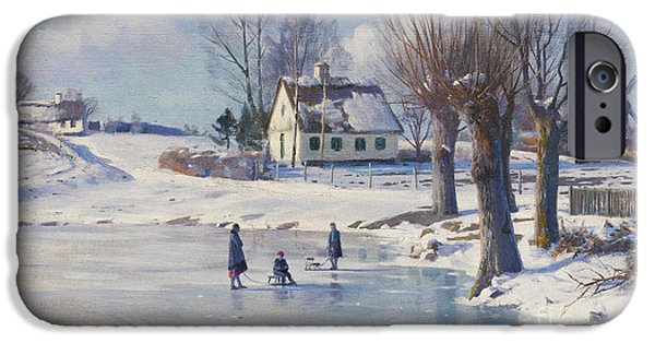 Temperature iPhone Cases - Sledging on a Frozen Pond iPhone Case by Peder Monsted