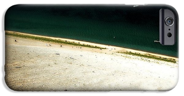 Beautiful Vistas iPhone Cases - Sleeping Bear Dunes from the Top Down iPhone Case by Michelle Calkins