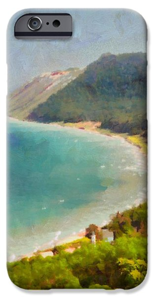 The View Mixed Media iPhone Cases - Sleeping Bear Dunes Lakeshore View iPhone Case by Dan Sproul