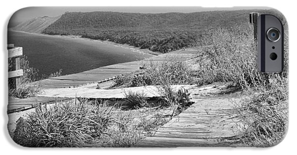 Sleeping Places iPhone Cases - Sleeping Bear Dunes Path Black And White iPhone Case by Dan Sproul