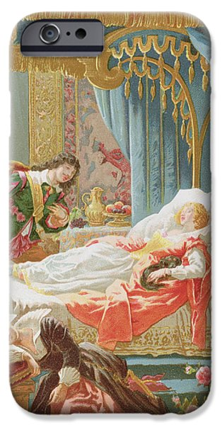 Spell iPhone Cases - Sleeping Beauty and Prince Charming iPhone Case by Frederic Lix