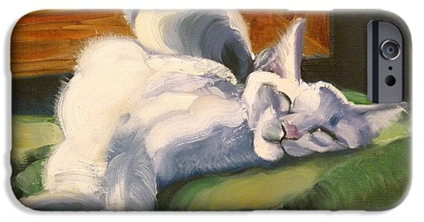 Cat Prints Drawings iPhone Cases - Sleeping Beauty iPhone Case by Susan A Becker