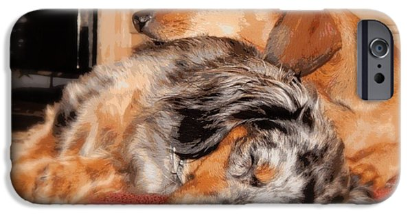 Canine Greeting Cards Digital Art iPhone Cases - Sleeping Buddies 2 iPhone Case by Lynn Griffin