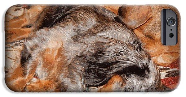 Dachshund Digital Art iPhone Cases - Sleeping Buddies  iPhone Case by Lynn Griffin