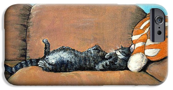 Girl iPhone Cases - Sleeping Cat iPhone Case by Anastasiya Malakhova