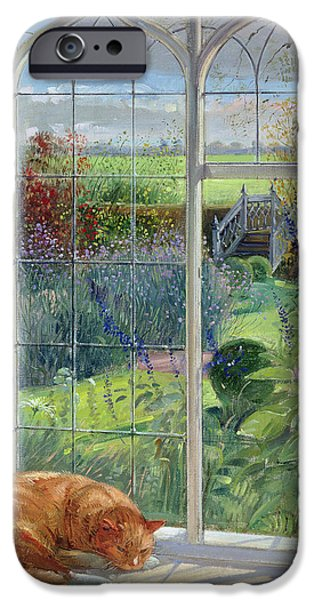 Ledge Photographs iPhone Cases - Sleeping Cat And Chinese Bridge Oil On Canvas iPhone Case by Timothy Easton