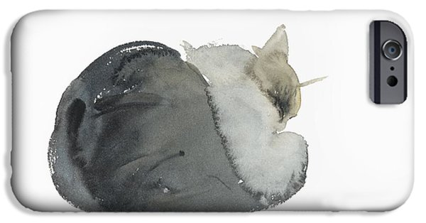 Cat Prints iPhone Cases - Sleeping cat iPhone Case by Claudia Hutchins-Puechavy