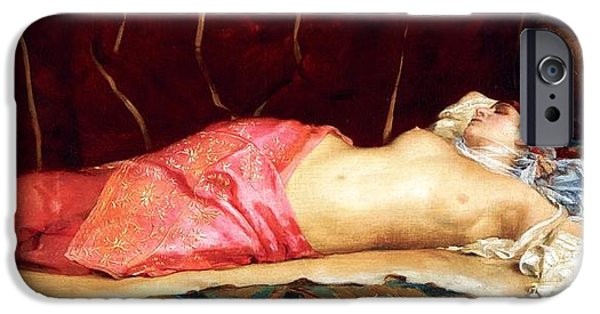 Concubines Paintings iPhone Cases - Sleeping Concubine iPhone Case by Pg Reproductions