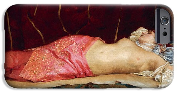 Concubines Paintings iPhone Cases - Sleeping Concubine iPhone Case by Theodoros Rallis