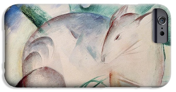 Expressionism iPhone Cases - Sleeping Deer Wc iPhone Case by Franz Marc