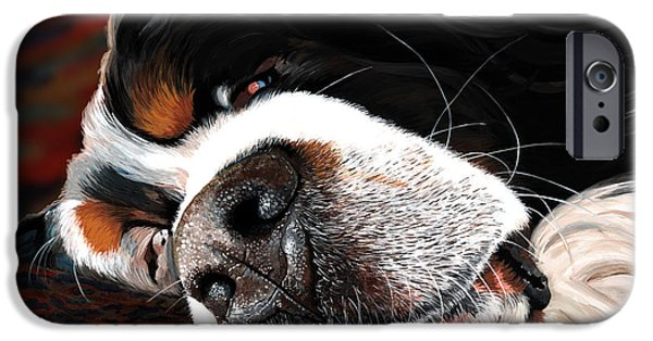 Dog Close-up Paintings iPhone Cases - Sleeping Dogs Lie iPhone Case by Liane Weyers