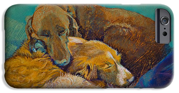 Puppy Pastels iPhone Cases - Sleeping Double in a Single Bed iPhone Case by Tracy L Teeter