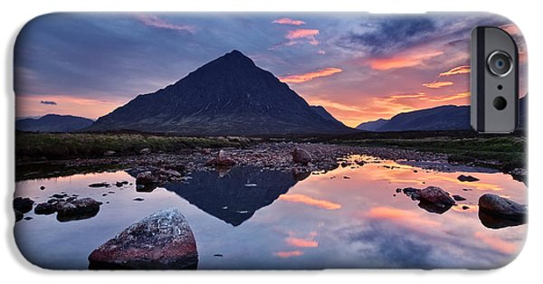 River Pyrography iPhone Cases - Sleeping Giant - Buachaille Etive Mor iPhone Case by Michael Breitung