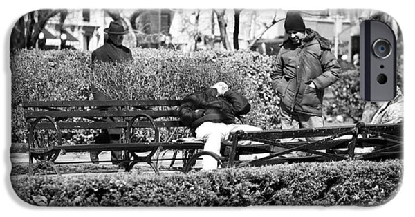 Sleeping Places iPhone Cases - Sleeping in the Park 1990s iPhone Case by John Rizzuto