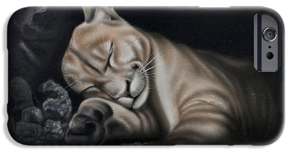 Airbrush iPhone Cases - Sleeping Lion iPhone Case by Sam Davis Johnson