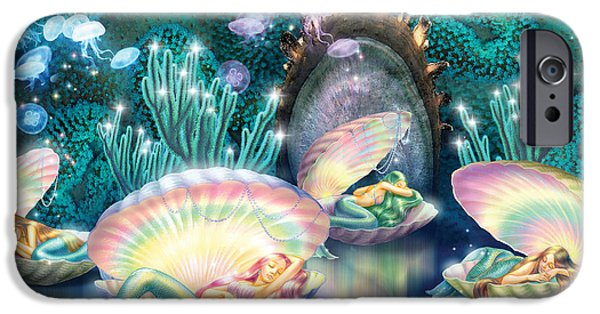 Mythical iPhone Cases - Sleeping Mermaids iPhone Case by Zorina Baldescu