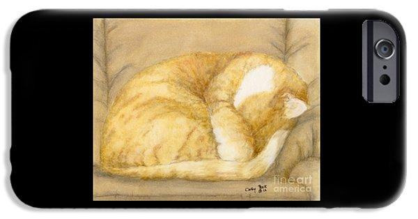 Orange Tabby Paintings iPhone Cases - Sleeping Orange Tabby Cat Feline Animal Art Pets iPhone Case by Cathy Peek