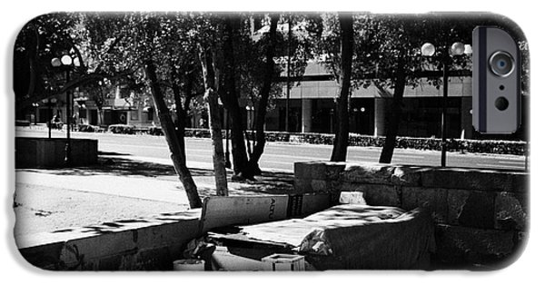Sleeping Places iPhone Cases - sleeping rough on the streets of affluent providencia Santiago Chile iPhone Case by Joe Fox