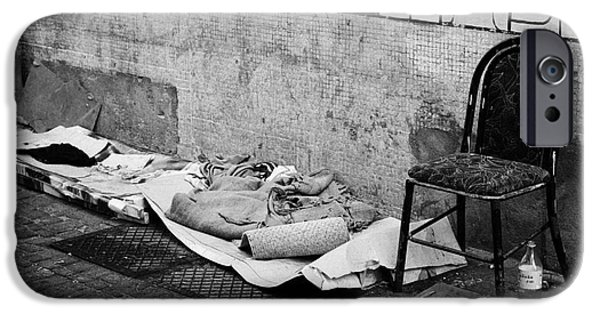 Sleeping Places iPhone Cases - sleeping rough on the streets of Santiago Chile iPhone Case by Joe Fox