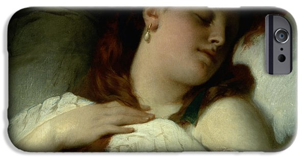Bed Spread iPhone Cases - Sleeping Woman iPhone Case by Sandor Liezen-Meyer