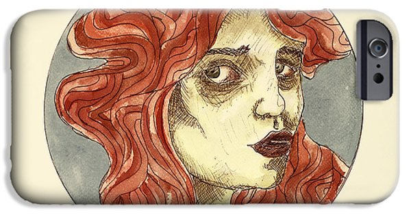Character Portraits Drawings iPhone Cases - Sleepless iPhone Case by Taylan Soyturk