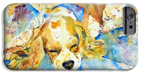 Spaniel Puppy iPhone Cases - Sleepy Dog iPhone Case by Andrea Merican