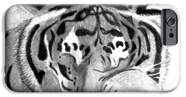 Michelle Drawings iPhone Cases - Sleepy Tiger iPhone Case by Michelle McPhillips