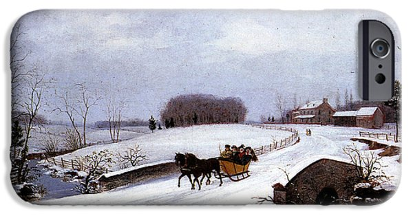 Horse iPhone Cases - Sleigh in Winter iPhone Case by Thomas Birch