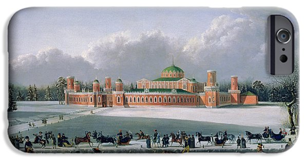 Winter iPhone Cases - Sleigh Race At The Petrovsky Park In Moscow, 1848 Oil On Canvas iPhone Case by Golitsyn