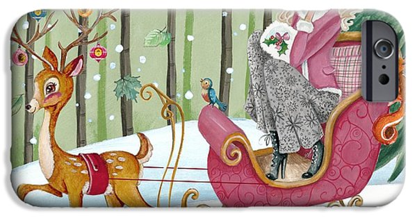 Dog Iphone Case iPhone Cases - Sleigh ride iPhone Case by Caroline Bonne-Muller