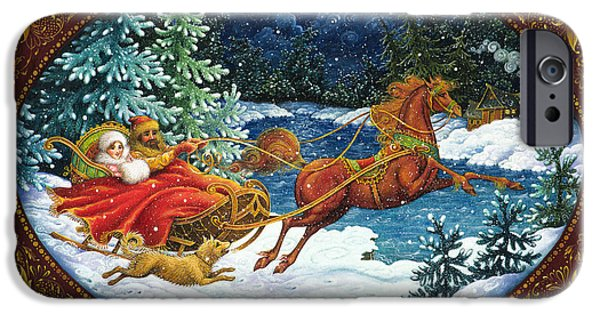 Christmas iPhone Cases - Sleigh Ride iPhone Case by Lynn Bywaters