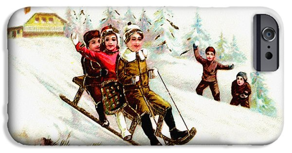 Wintertime Digital Art iPhone Cases - Sleigh Ride iPhone Case by Unknown