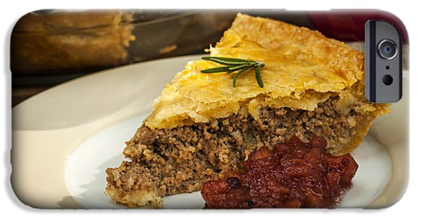 Beef iPhone Cases - Slice of meat pie Tourtiere iPhone Case by Elena Elisseeva