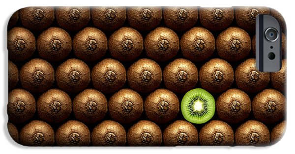 Sectioned iPhone Cases - Sliced kiwi between group iPhone Case by Johan Swanepoel