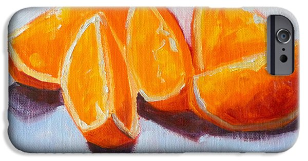 Tangerines Paintings iPhone Cases - Sliced iPhone Case by Nancy Merkle
