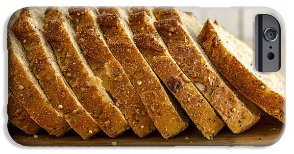 Loaf Of Bread iPhone Cases - Slices of Whole Grain Bread iPhone Case by Teri Virbickis