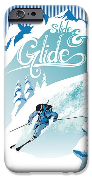 Ski Art iPhone Cases - Slide And Glide Retro Ski Poster iPhone Case by Sassan Filsoof