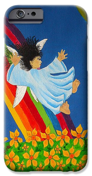 Angel Blues Mixed Media iPhone Cases - Sliding Down Rainbow iPhone Case by Pamela Allegretto