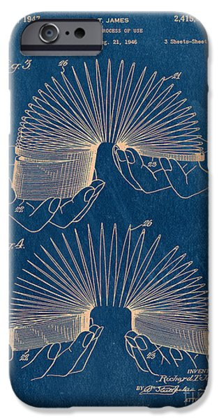 Bryant Drawings iPhone Cases - Slinky Toy Blueprint iPhone Case by Edward Fielding